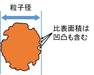 凹凸や細孔がある粒子(D=6/Sρが成り立たない)
